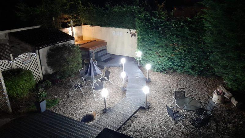 Courtyard Illuminated At Night