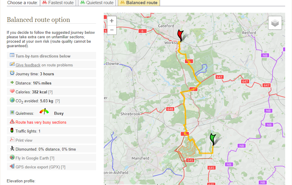 Cyclestreets.net example cycling route planner