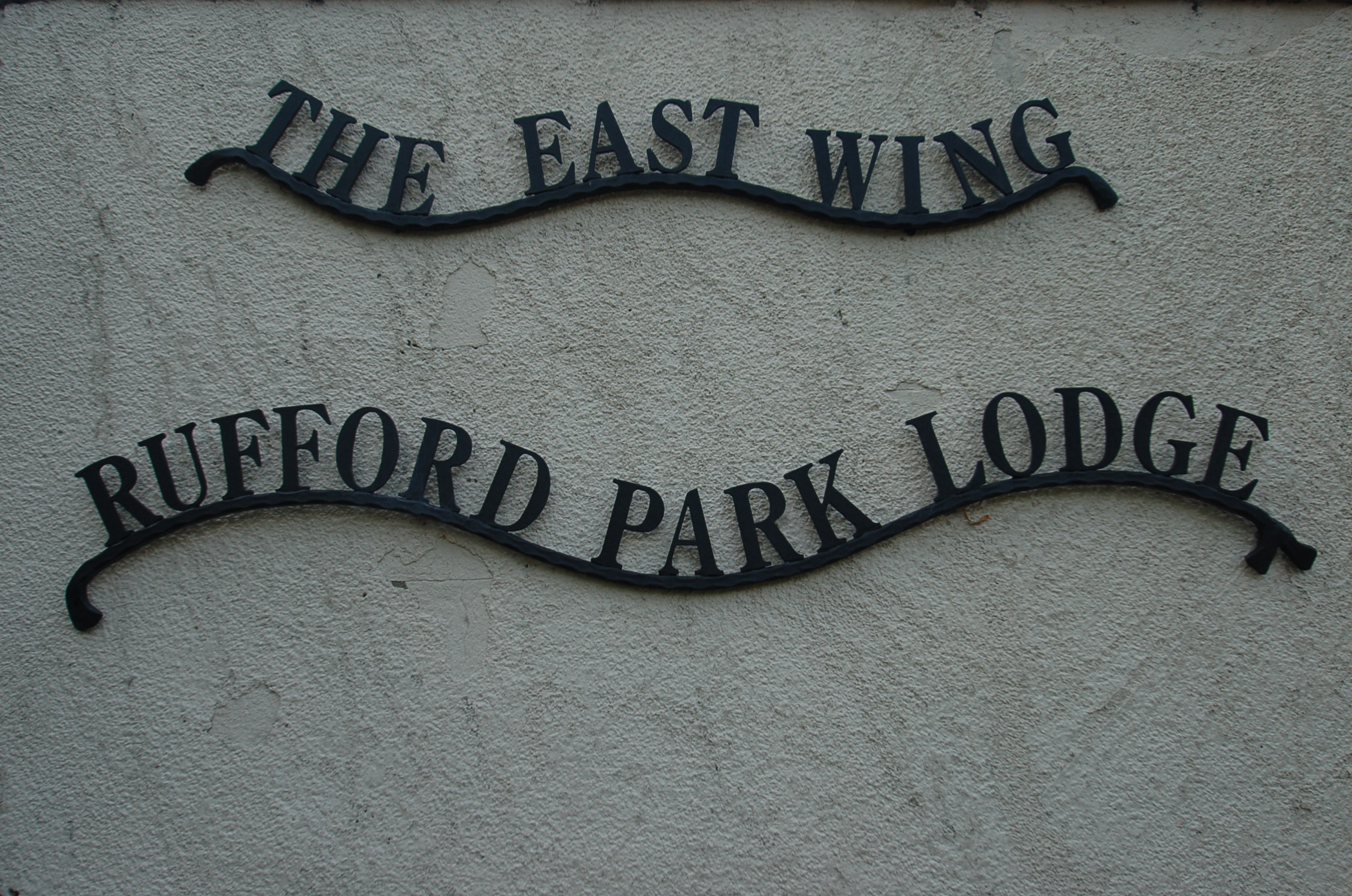 The East Wing Rufford Park Lodge Welcome Sign